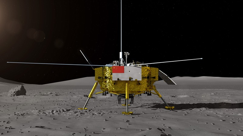 Rendering of the moon lander for Chinas Chang'e-4 lunar probe on the lunar surface.