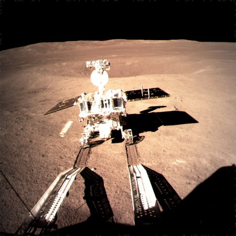 Yutu-2, China's lunar rover, leaving a trace after touching the surface of the far side of the moon on Jan 3rd 2019