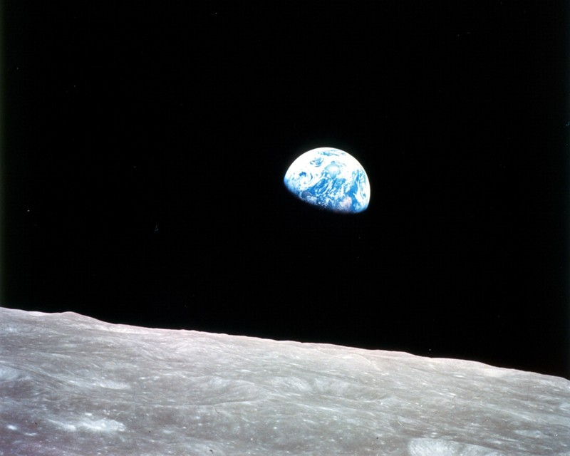 Earth seen from lunar orbit during Apollo 8 mission