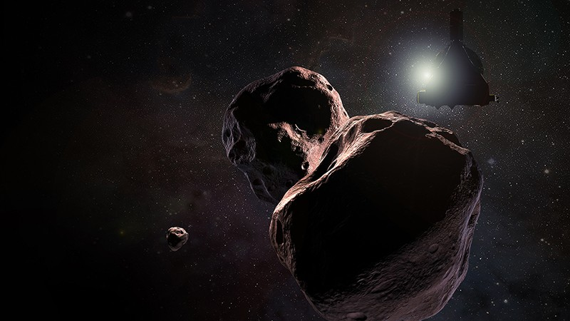 Illustration of NASA's New Horizons spacecraft encountering the Kuiper Belt object nicknamed Ultima Thule