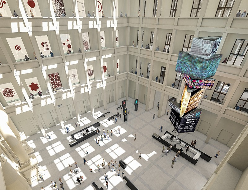Artistic rendering of the Stiftung Humboldt Forum foyer, currently under construction in Berlin