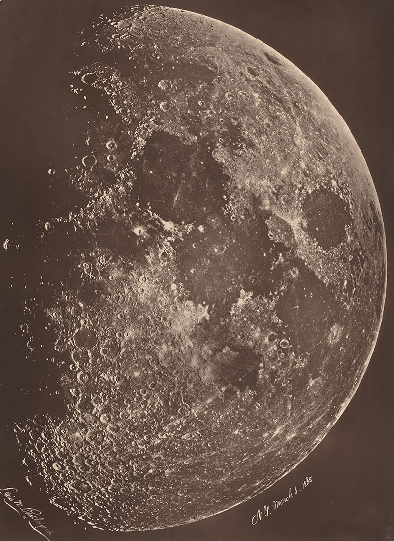 Albumen print of the moon by Lewis Rutherford