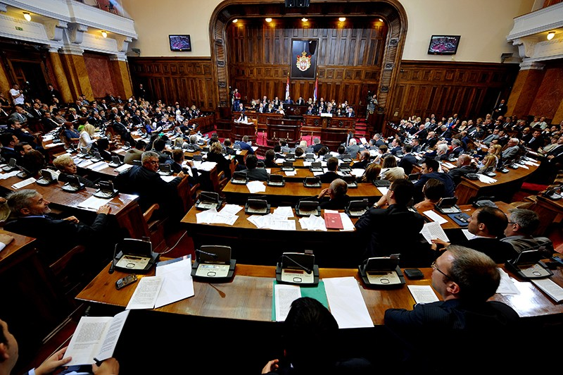 Serbian members of parliament attend the National Assembly in Belgrade