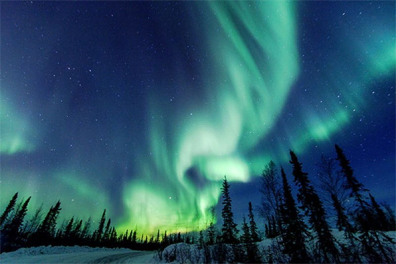 Aurora Borealis close to Yellowknife in the Northwest Territories in Canada.