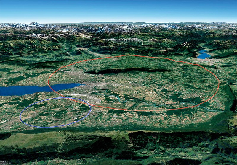 The FCC study prepared a conceptual design of a 100km long ring accelerator (red) using CERN's existing structure (blue)