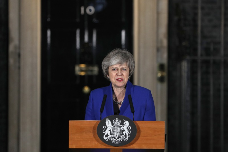 Prime Minister Theresa May addresses the media