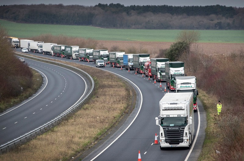 Trucks lined up in Brexit planning exercise