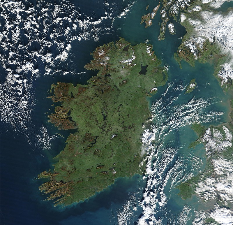 Ireland from space by MODIS, Jan 2003.