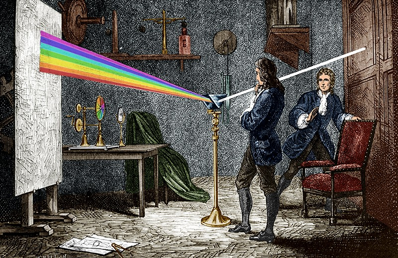 Engraving of Isaac Newton performing an experiment: a ray of white light enters a prism and is split into a rainbow.