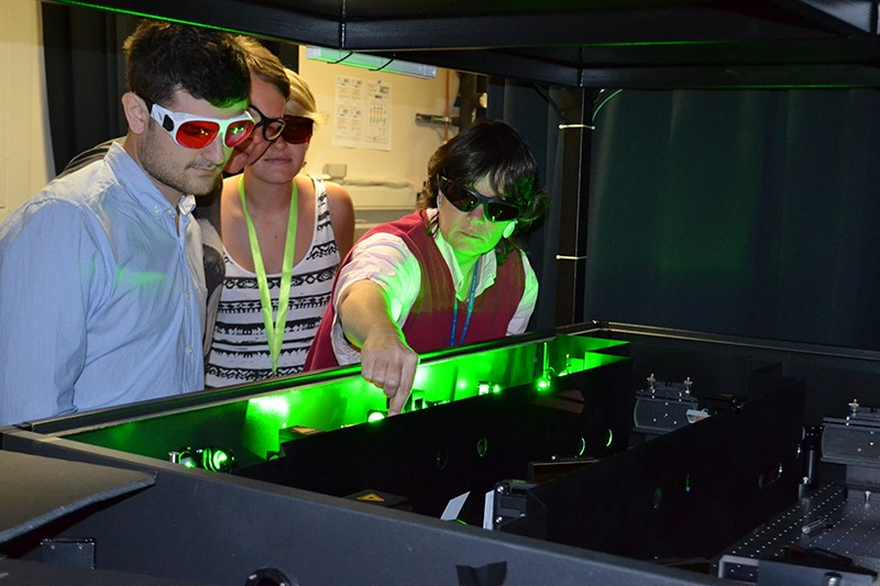 Cather Simpson and members of the Engender team align a femtosecond laser