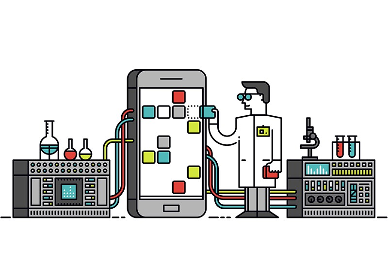 Lab scientist with smart phone illustration