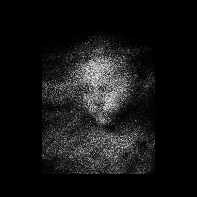 A vaguely indistinct floating face made of white spots on a black background.