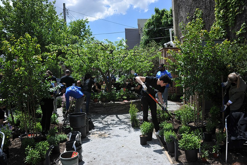 Volunteers in Brooklyn working on a solar-powered community garden.