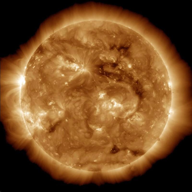 The dark region seen on the sun