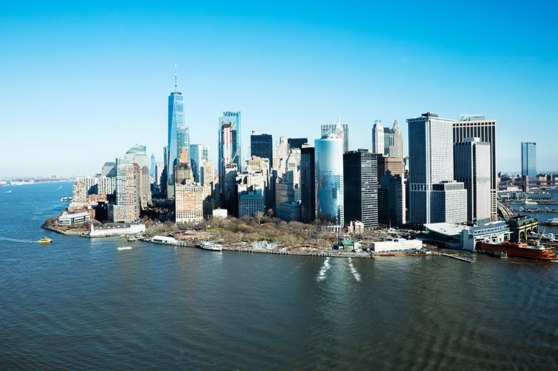 The lower Manhattan waterfront in New York, USA