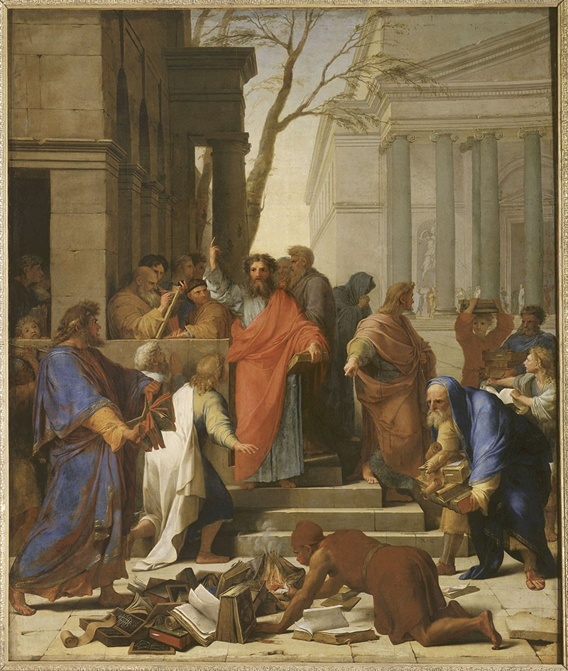 A painting of St Paul preaching in a crowd; in the foreground, people are burning books.