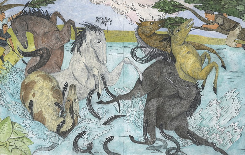 Graphic spread showing horses in a river being attacked by electric eels