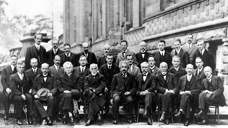 1927 Solvay Conference on Quantum Mechanics attendees.