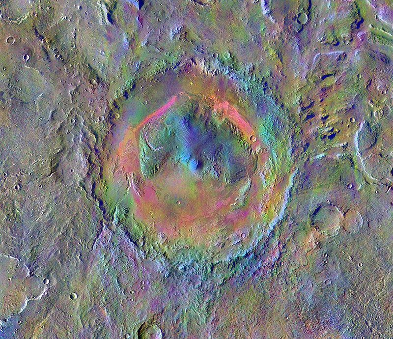 Colourful THEMIS false colour image of Gale Crater on Mars.