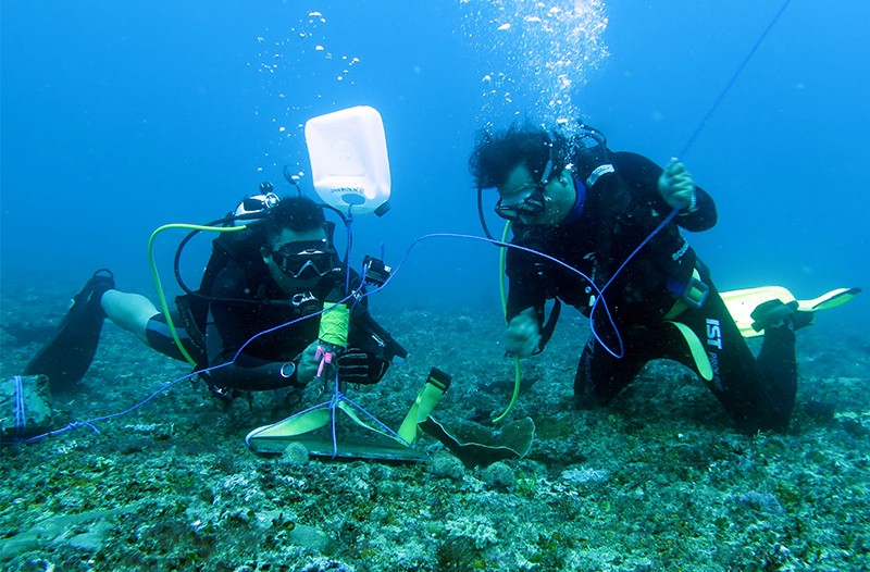 Scientists in scuba gear place a low cost short term hydrophone on the seabed before Nyepi - Bali's day of silence.