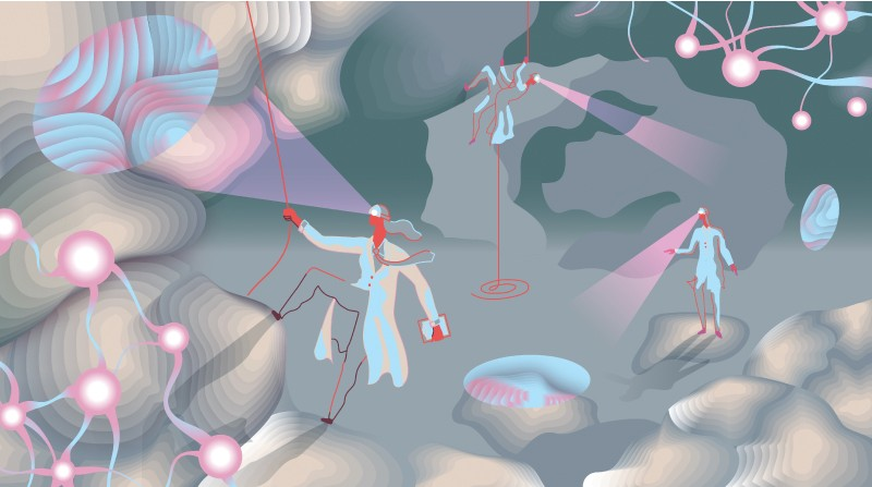 Illustration of scientists climbing in a cave made of neurons.