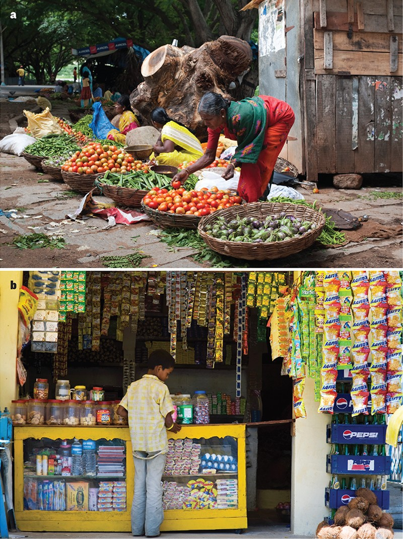 Two images, one showing an Indian street market selling vegetables, and one showing a village shop with packaged foods