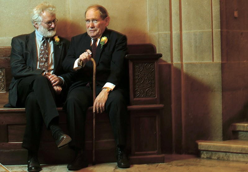 Nobel Prize winners, Sir John Sulston, and Dr. Sydney Brenner, in 2002.