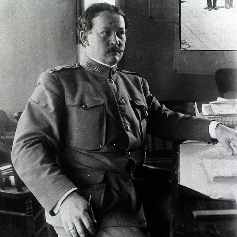 Dr Rupert Blue at his desk during San Francisco plague campaign