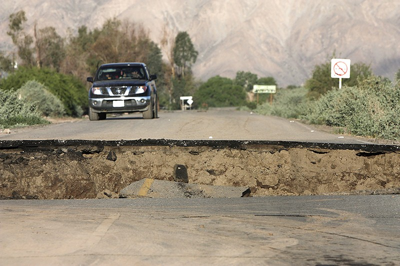 A cracked road, made by a 7.2-magnitude earthquake, in Mexico's Baja California state in 2010.