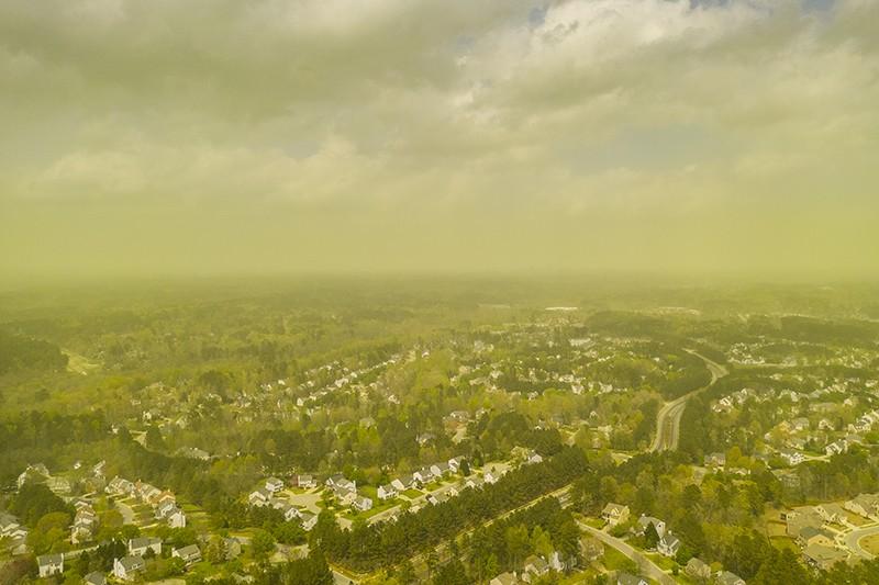 Pollen spread across Durham, NC on April 8, 2019