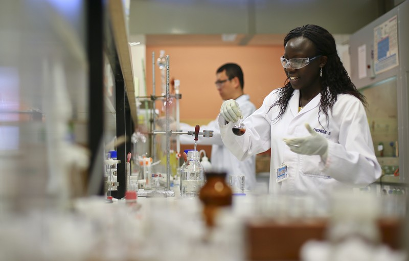 Scientists work in the Drug Discovery and Development Centre at the University of Cape Town.