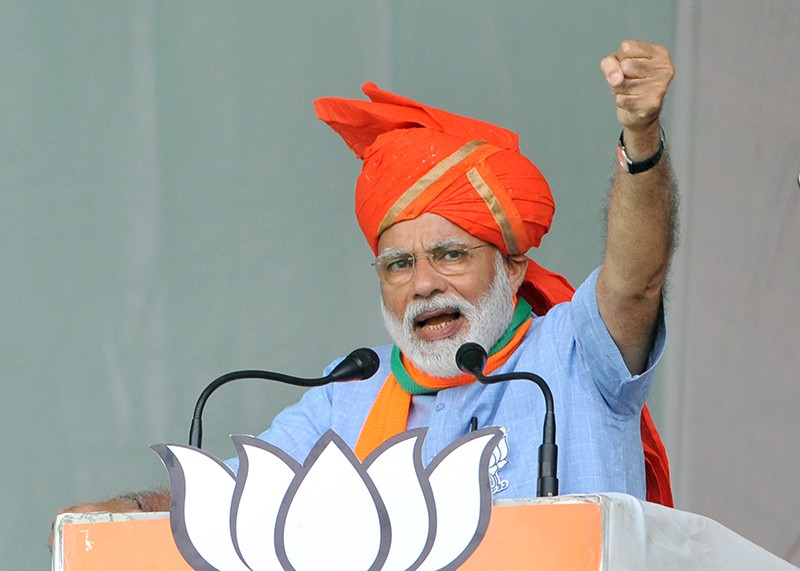 Indian Prime Minister Narendra Modi onstage at an election campaign rally in Kathua district