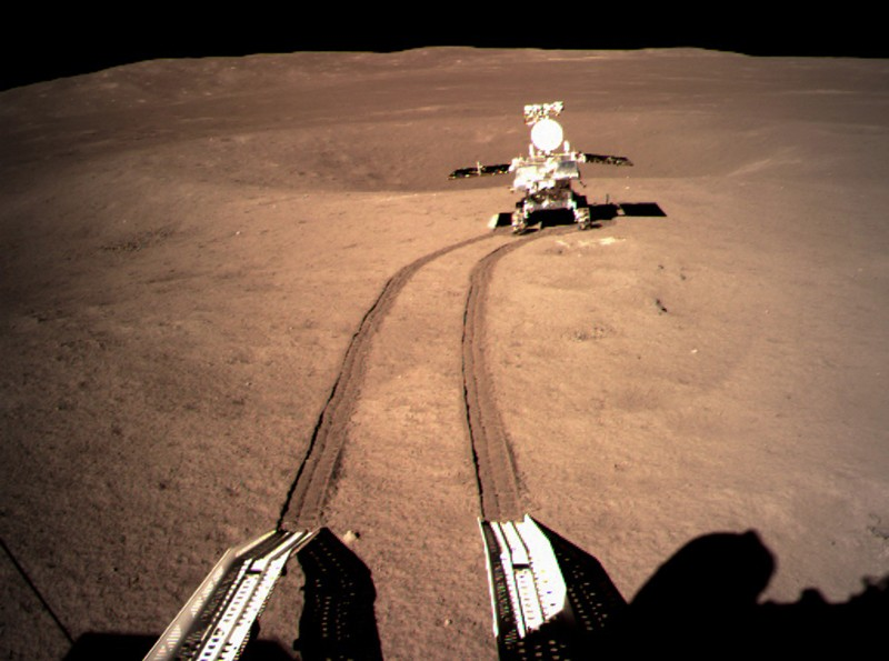 Yutu-2, China's lunar rover, at preset location A on the surface of the far side of the moon.