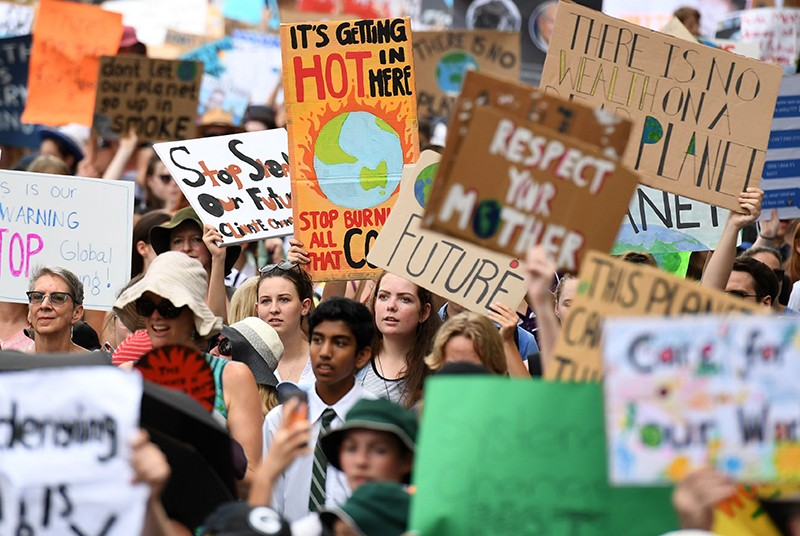Students strike in protest of political inaction on climate change, Brisbane, Australia - 15 Mar 2019