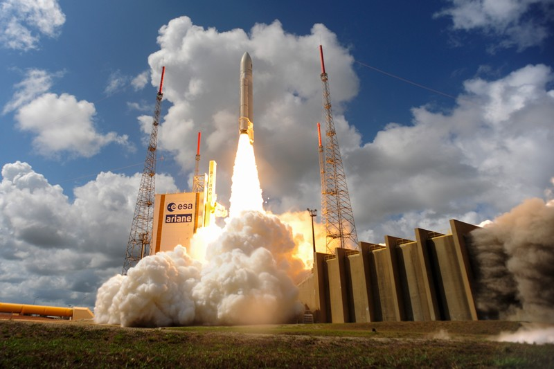 Liftoff of Ariane flight VA233, carrying four Galileo satellites, from Europe's Spaceport in Kourou, French Guiana