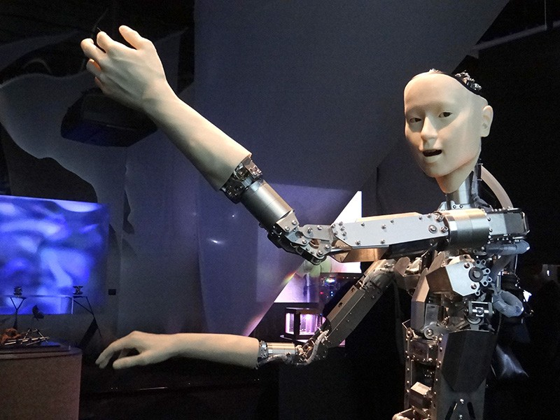 A robot with a metal body and arms, but a humanoid face and hands.