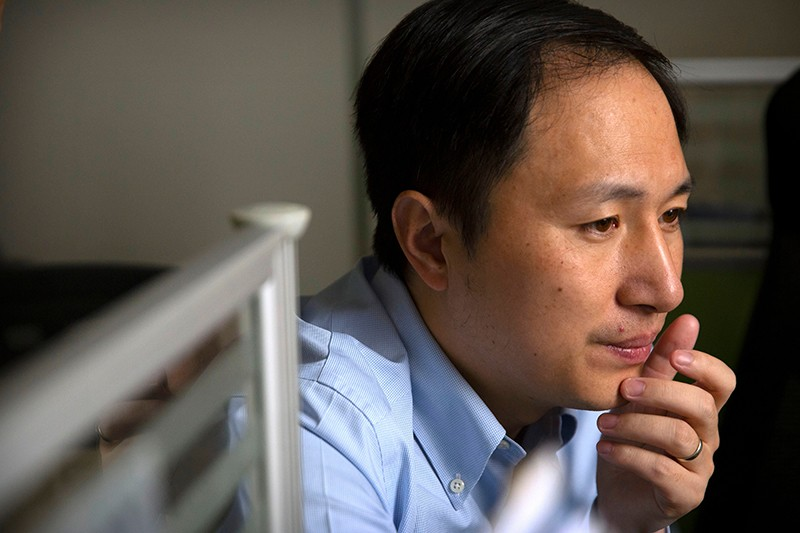He Jiankui working at a lab in Shenzhen, China in 2018