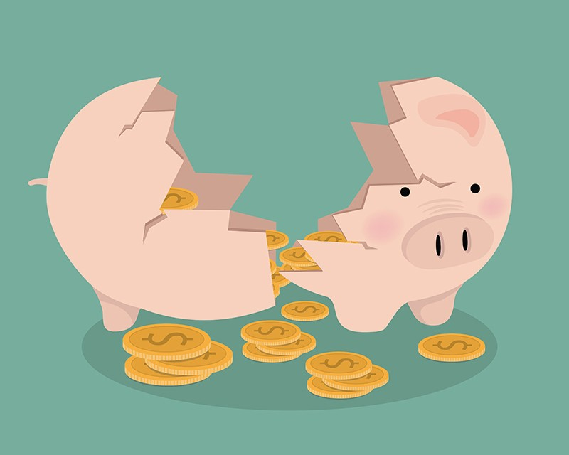 Illustration of a broken pink piggy bank
