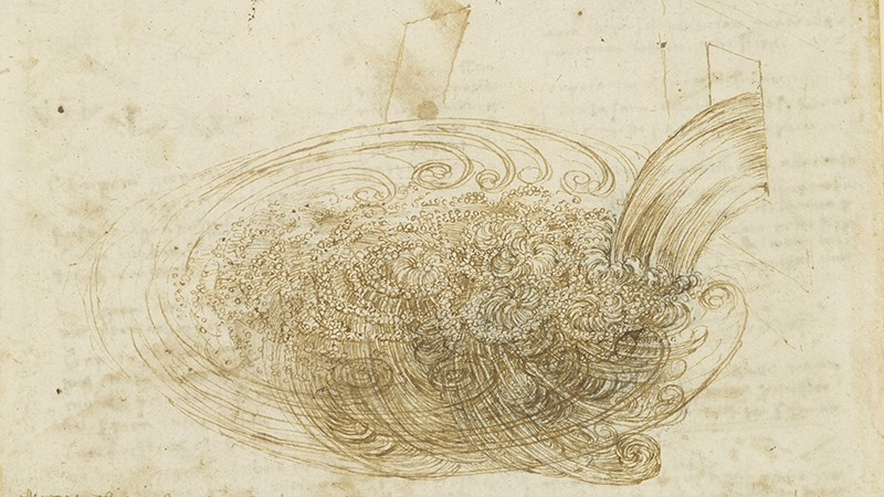 A sketch on yellow paper shows swirling torrents of water.