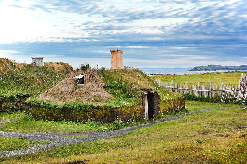 Recreation of a sod-roofed Viking dwelling at L'Anse aux Meadows National Historic Site
