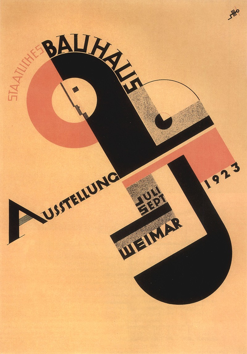 Poster with black and red geometric forms and writing on a beige background.