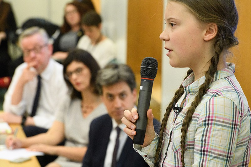Environmental campaigner Greta Thunberg addresses Parliament.