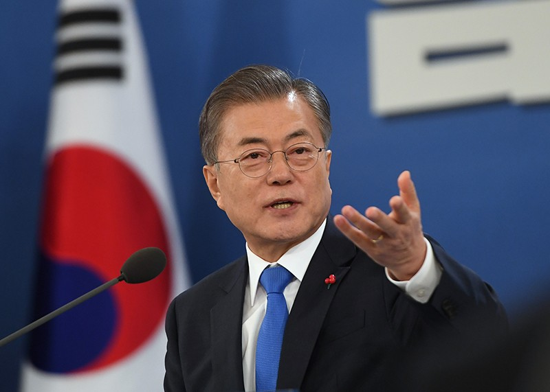 South Korean President Moon Jae-in speaking at a press conference