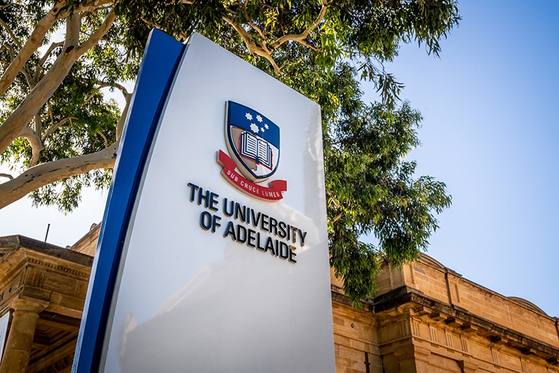 Sign of the entrance of Adelaide University with logo