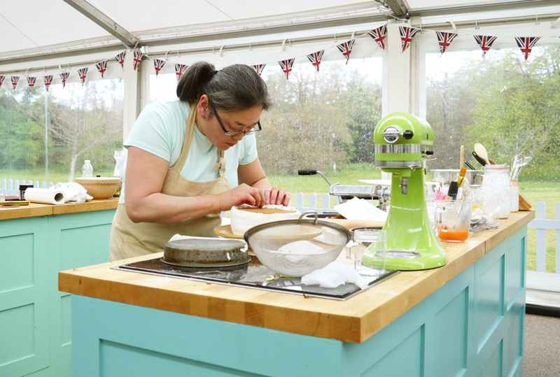 Yan in the Great British Bake Off tent in 2017.