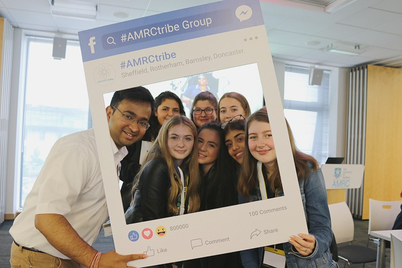 Rahul Mandal posing for a photo with participants of the #AMRCtribe launch event.