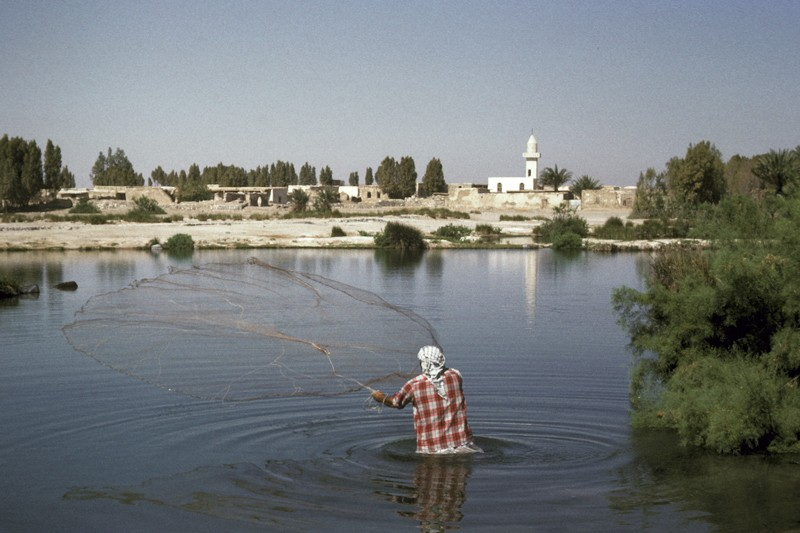 A fisherman throwing a net into the Azraq Shishan, Jordan, 1964