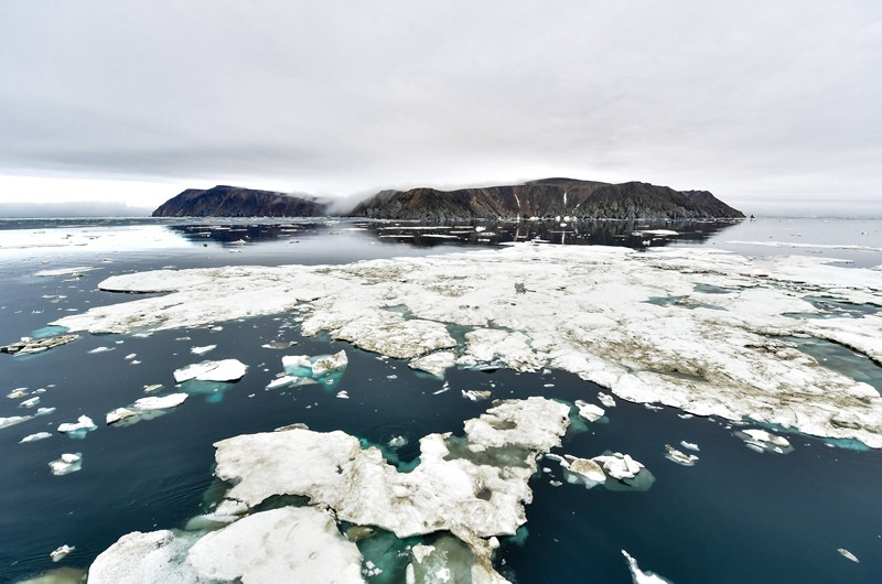 Herald Island, part of the Wrangel Island State Nature Reserve in the Arctic Sea
