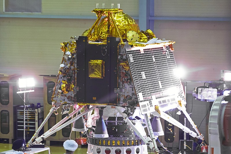The Chandrayaan-2 spacecraft Lander module at the Indian Space Research Organization in June 2019