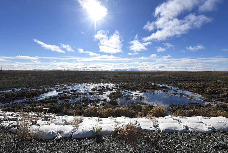 Melting permafrost tundra at the town of Quinhagak on the Yukon Delta in Alaska on April 12, 2019.